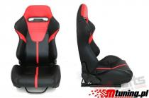 Racing seat R-LOOK II PVC Black - Red - MN-FO-100