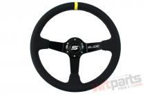 Steering wheel SLIDE 350mm offset:90mm Leather Yellow Strip PP-KR-041