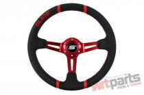 Steering wheel SLIDE 350mm offset:90mm Leather Red - PP-KR-045