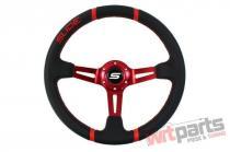 Steering wheel SLIDE 350mm offset:90mm Leather Red PP-KR-045