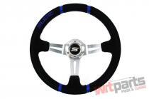 Steering wheel SLIDE 350mm offset:90mm Leather Blue - PP-KR-049