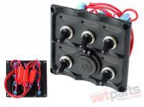 Switch Panel 12V SPST/ON-OFFx5,  1xGZ,  3B 15A IP68 - PP-WL-028