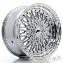 JR Wheels JR9 17x7,  5 ET20-35 BLANK Silver w/Machined Lip+Silver Rivets JR91775XX2074SS